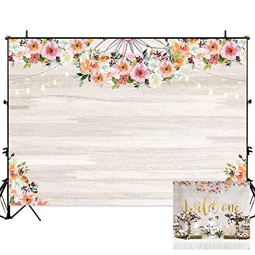 Personalized Photo Banner - Allenjoy 7x5ft Floral Wood Wall Backdrop for Photography Flowers Wooden Texture Board Durable Kids Birthday Decoration Background Bohemian Theme Baby Shower Party Banner Photo Studio Props