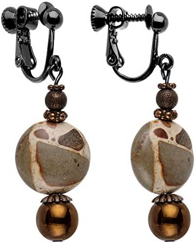 Body Candy Handcrafted Brown and Tan Earthy Elegance Dangle Clip On Earrings