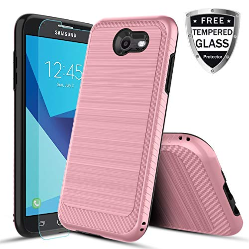 Samsung Galaxy J3 2017 Case,Galaxy J3 Emerge/J3 Prime/J3 Eclipse/J3 Mission/Express Prime 2/J3 Luna Pro/Amp Prime 2/Sol 2 Phone Case with Tempered Glass Screen Protector for Girls Women-Rose Gold