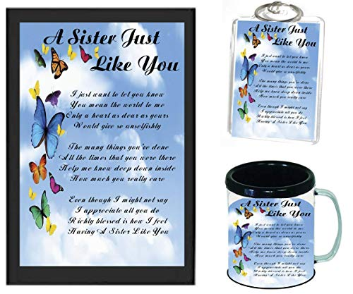 A SISTER JUST LIKE YOU POEM | JUST IN TIME FOR CHRISTMAS GIFT | 11OZ BLACK | COFFEE CUP & PHOTO KEYCHAIN ARTWORK MUG BUNDLE