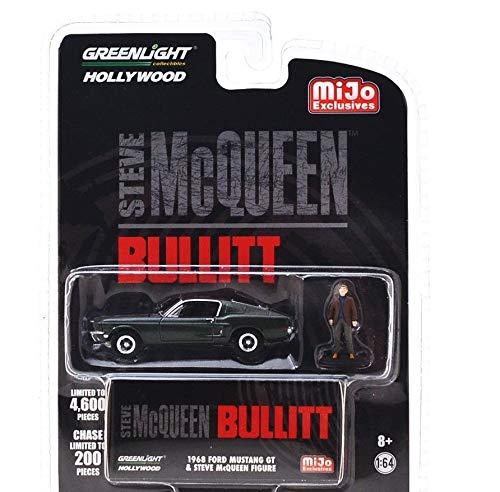 Greenlight Hollywood Bullitt 1968 Ford Mustang GT with Steve McQueen Figure 1/64 Diecast Model Car 51207