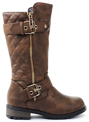 [Kids Girls Mango21 Brown Dual Buckle/Zipper Quilted Mid Calf Motorcycle Boots-1] (Brown Boots For Kids)