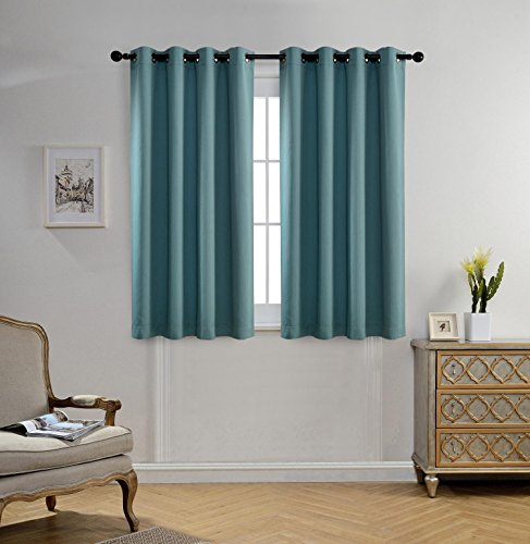 Miuco Room Darkening Textured Weaved Grommet Blackout Curtains for Bedroom 52×63 Inch Teal 2 Panels