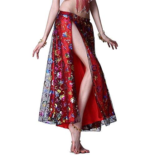 Baile Conjuntos Ropa de baile Vientre Baile Disfraz Conjunto Lentejuelas Sostén Parte superior & Lado Abertura Flor Bordado Falda & Cadera Bufanda Red