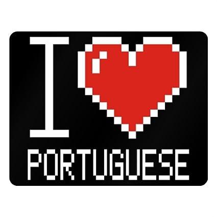 Idakoos I Love Portuguese Pixelated Languages Plastic Acrylic