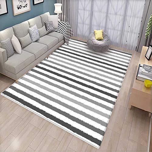 Striped Extra Large Area Rug Gray and White Stripes Monochrome Tone Brush Style Lines Grunge Retro Digital Print Bath Mat for tub White Grey -