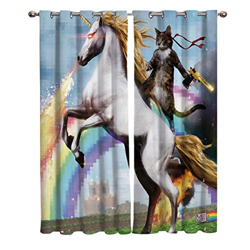 Vandarllin Funny Cute Rambo Cat Riding a Unicorn Window Panels Treatments Sets of 2,Insulated Blackout Curtains/Draperies for Living,Dining,Bedroom,Kitchen, Animals Print,Each 52x52in