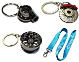 4 Heavy Duty Metal Keychain Set - Spinning Turbo | Gunmetal Wheel | Rotor Keychain + GT//Motorsports Lanyard