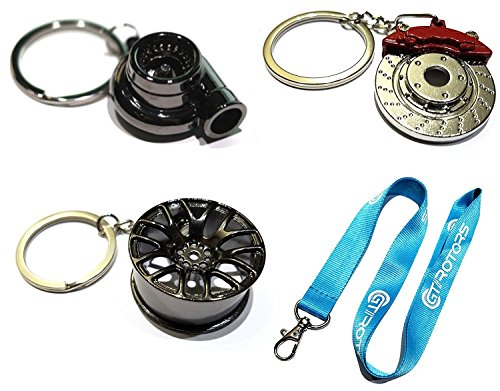 4 Heavy Duty Metal Keychain Set - Spinning Turbo | Gunmetal Wheel | Rotor Keychain + GT//Motorsports Lanyard
