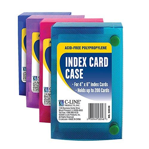 C-Line 58046 Index Card Case, Holds 200 4 x 6 Cards, Polypropylene, 1 Assorted Color