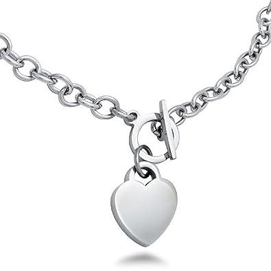 eeb00322307 Amazon.com: Stainless Steel High Polish Heart Charm Toggle Necklace ...