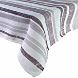 R.LANG Spill Proof Tablecloth Rectangle Tablecloth UV-Resistant Outdoor Fabric White/Brown 60 x 104-inch