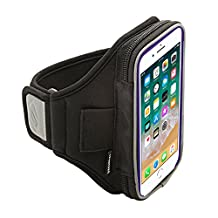 Sporteer Velocity V5 Armband for iPhone 8, iPhone 7, iPhone 6S, Pixel 2, Galaxy S7, Moto, Lumia, and Many Other Phones/Cases - BLACK, M/L Strap