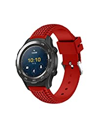 Band For Huawei Watch 2, Kingfansion New Fashion Sports Silicone Bracelet Strap 215mm (Red)