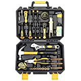 DEKOPRO 100 Pieces Home Repair Tool Set,General Household Hand Tool Kit with Plastic Tool Box Storage