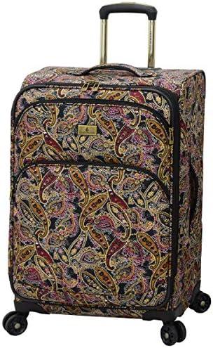 LONDON FOG Cranford Softside Expandable Spinner Luggage, black gold plum paisley, Checked-Medium 25-Inch