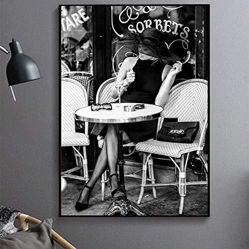 Zqcay Artista Parisino Carteles de cafe al Aire Libre de Color Retro y Pinturas al oleo Cuadros de Pared para Sala de Estar Dibujar Lienzo Pintura Cartel de Arte-Marco_60X80 cm