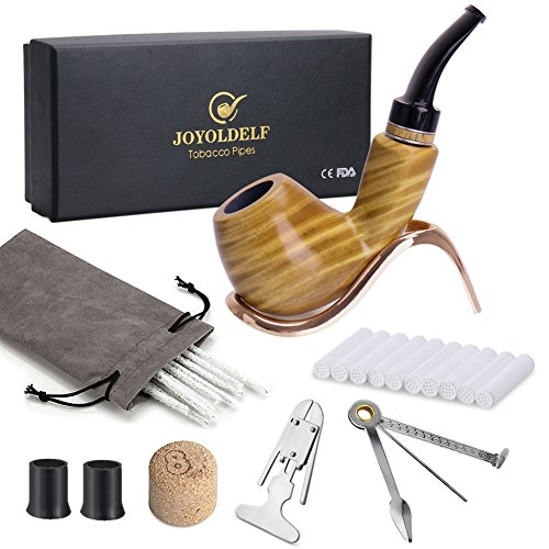 Joyoldelf Wooden Tobacco Pipe Set, Handmade Pipe With Stainless Steel Pipe Display Holder, Cleaning Tool and Other Accessories by Joyoldelf