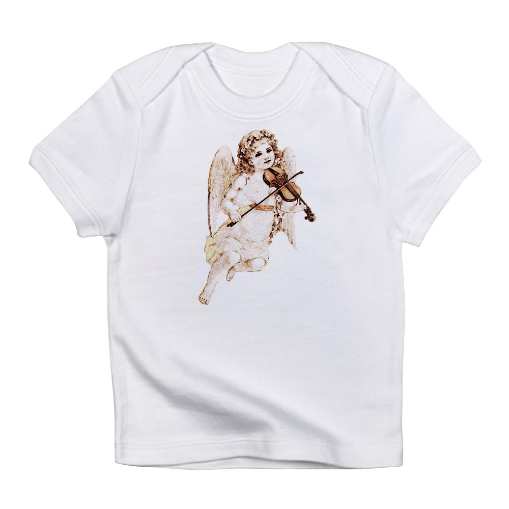 6 To 12 Months Cloud White Truly Teague Infant T-Shirt Little Vintage Angel Playing Violin