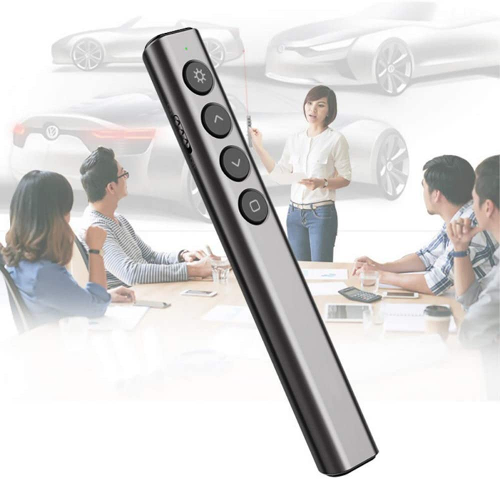 ZYLFN Presentador inalámbrico, RF de 2,4 GHz hasta 300 pies Rango Presentación Recargable Profesional a Distancia, compatibilidad Universal para el Control de Diapositivas con el Puntero Rojo