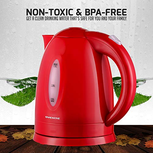 Ovente KP72R BPA-Free Electric Kettle 1.7 Liter with Auto Shut-Off and Boil-Dry Protection, Red