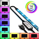 colored kitchen cabinets USB LED Lighting Strip for HDTV - Medium (78in / 2m) - Multi-Color RGB - USB LED Backlight Strip with Dimmer for Bias Lighting HDTV, Flat Screen TV LCD, Desktop Monitors, Kitchen Cabinets…