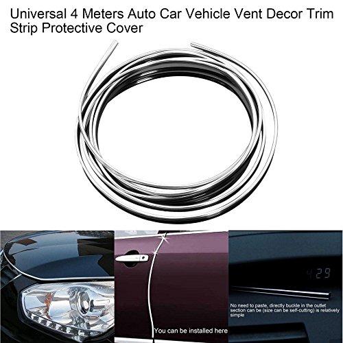 Moda Universal 4 metros Auto Car Vehicle Vent Decor Strip Cromado plateado Tira protectora Cubierta protectora Decoraci/ón