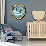 24'' Porthole Ship Sea Window Ocean View BOTTLE NOSE DOLPHINS #3 ANTIQUE BRONZE Wall Graphic Kids Decal Baby Room Sticker Home Den Mural Man Cave Art Décor MEDIUM