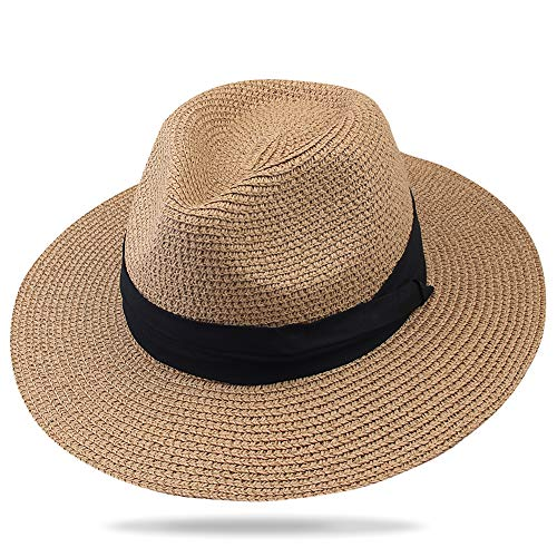 (FURTALK Panama Hat Sun Hats for Women Men Wide Brim Fedora Straw Beach Hat UV UPF Brown)