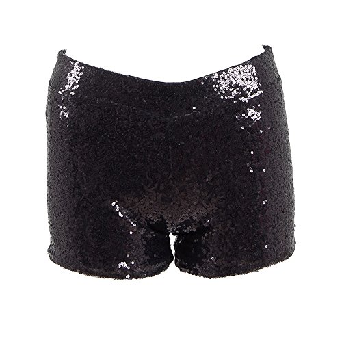 Dream-Store Women's metallic booty shorts sexy sequins Dancing Rave Festival costumes (XL, Black) by Dream-Store