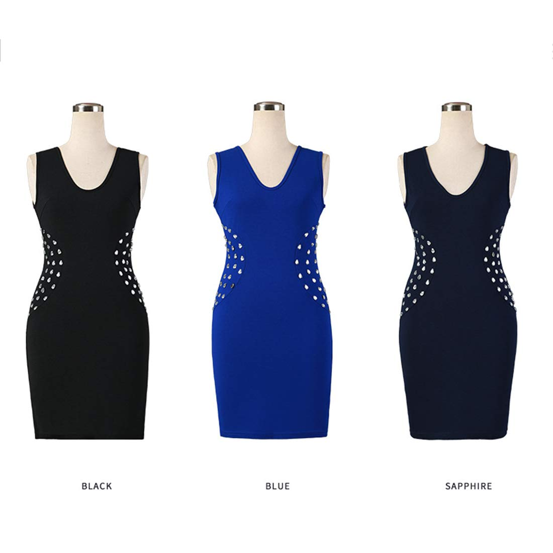 bluee MISSKERVINFENDRIYUN YY4 Women's Sleeveless Slim Bag Hip Solid color Nail Diamonds European Style Black Dress