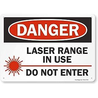 "SmartSign – S-2482-PL-14 ""Danger – Laser Range in Use, Do Not Enter"" Sign | 10″ x 14″ Plastic"