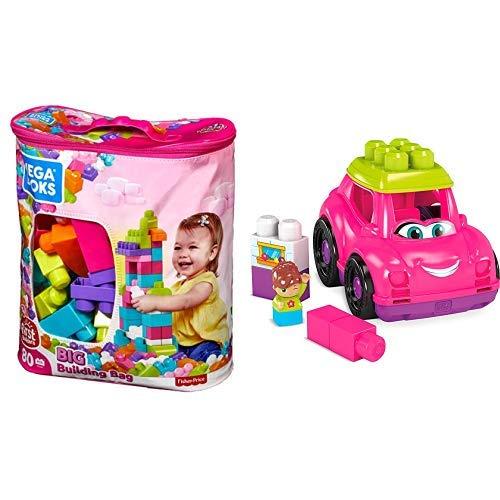 Mega Bloks Big Building Bag, Pink, 80 Piece AND Mega Bloks Mega Blocks Pink Convertible