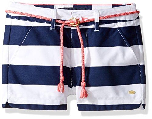 (Tommy Hilfiger Girls' Toddler Rugby Stripe Short with Rope Belt, Flag Blue, 2T)