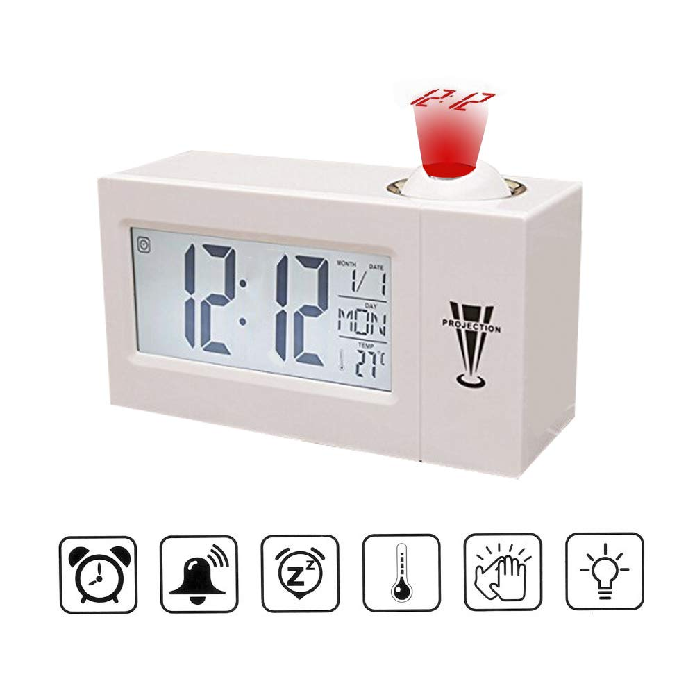 iado Projection Alarm Clock, Digital Projection Clock with Temperature Voice Control Time Ceiling Projection Clock Snooze Function Perfect for Teens Kids at Home Office (White)