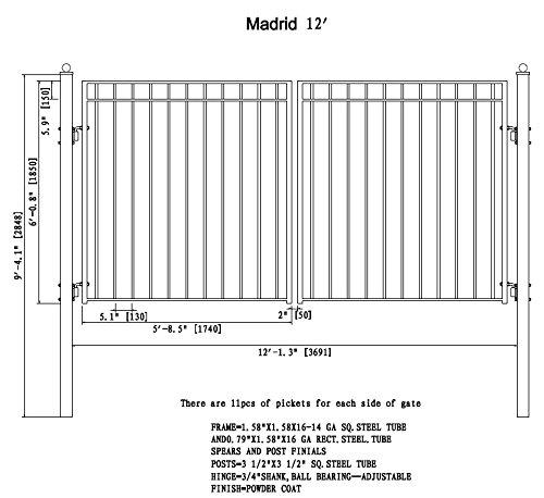 ALEKO Madrid Style Iron Wrought Gate 12' Ornamental Dual Swing Driveway Gates 12' by ALEKO
