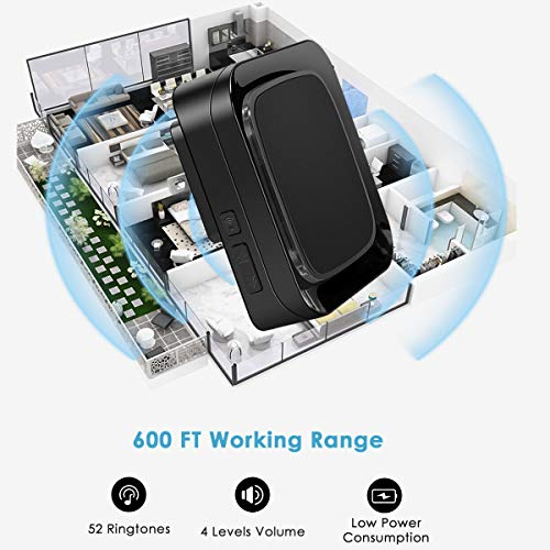 Door Sensor Wireless Alarm Chime Kit for Home/Office/Store, Coolqiya Doorbell Entry Alert System Operating at 600FT Range With 4 Volume Levels 52 Melodies, 3 Door Sensors + 2 Plug-in Receivers (Black)