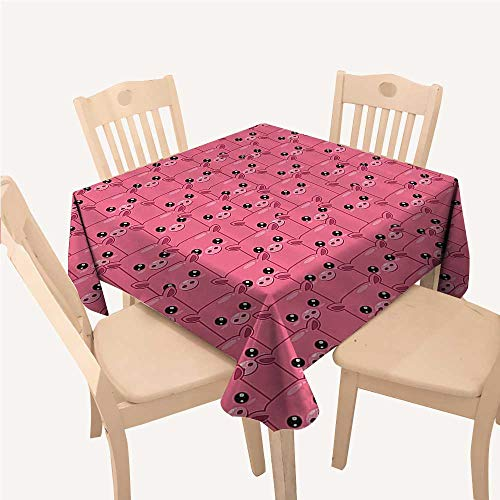 WilliamsDecor Pig Decor Collection Summer Table Cloths Smiley Square Faced Little Pigs Eyes Noses Crowd Herd of Animals PatternPink Bubblegum Square tablecloths W50 xL50 inch
