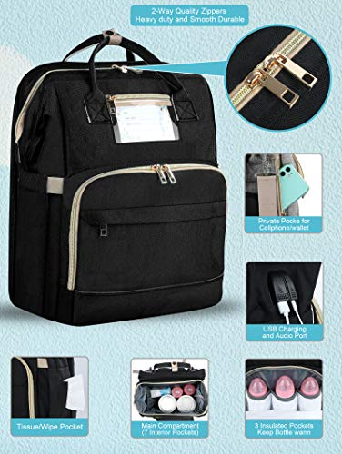 Diaper Bag Backpack with Changing Station - Multifunction Waterproof Baby Bag Include Large Capacity Insulated Pockets,Mommy Bag Organizer with Travel Bassinet & USB Charging Port