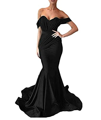 710466808 HanlandayBridal Women's Off Shoulder Sweetheart Prom Mermaid Satin Formal  Dress Black