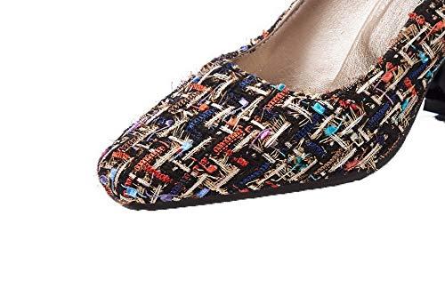 Fbuidd007137 Tirare Donna Tacco Alto Ballet Multicolore flats Allhqfashion Scacchi 0q7zO0n
