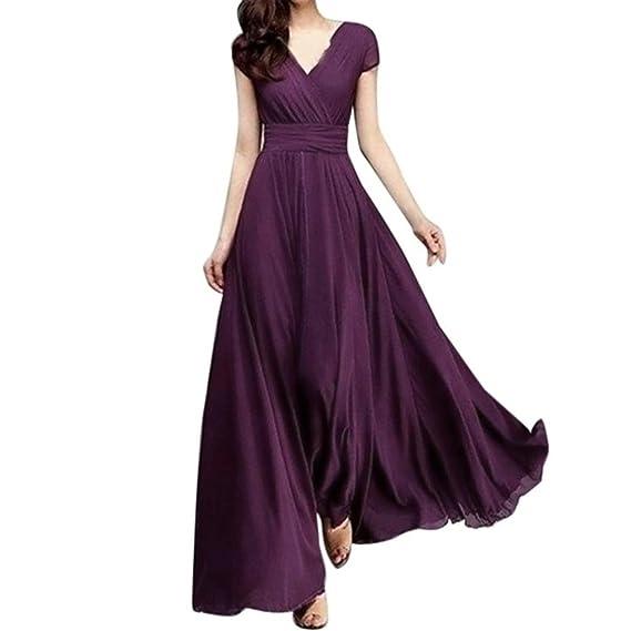 Vestido largo de noche de gasa sólido con cuello en V de las mujeres