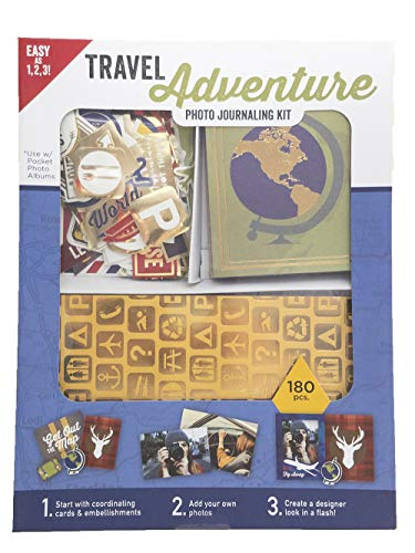 - Travel Adventure Photo Journaling Kit - Contains 180 Pieces Including 50 Journaling Cards, 20 Foil Cards, 108 Stickers