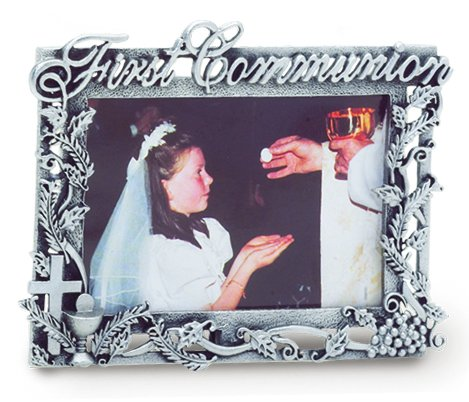 Pewter First Communion Filigree Picture Frame