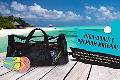 Dive Bag Mesh Duffle Bag - Scuba Bag for Diving Equipment - Extra Large Scuba Diving Gear and Snorkel Bag Mesh Duffel Bag - Ideal Dive Gear Bag and Fin Bag for Water Sports