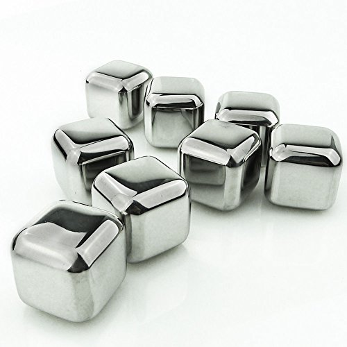 BonBon Set of 8 Stainless Steel Whiskey Stones Rock with Tongs - Wine chiller,Beer,juice,Drinks