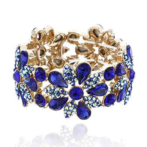SP Sophia Collection Women's Floral Austrian Crystal Bangle Stretch Rhinestone Bracelet in Royal Blue