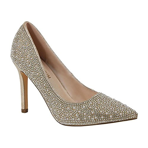 De Blossom Collection Womens Special Occasion Dressy Pearl and Rhinestone Pointed Toe Pump Nude xSvaF