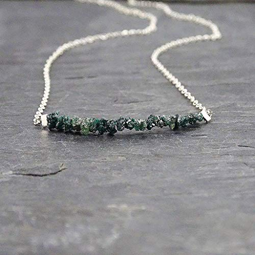 Blue Green Raw Diamond Sterling Silver Necklace