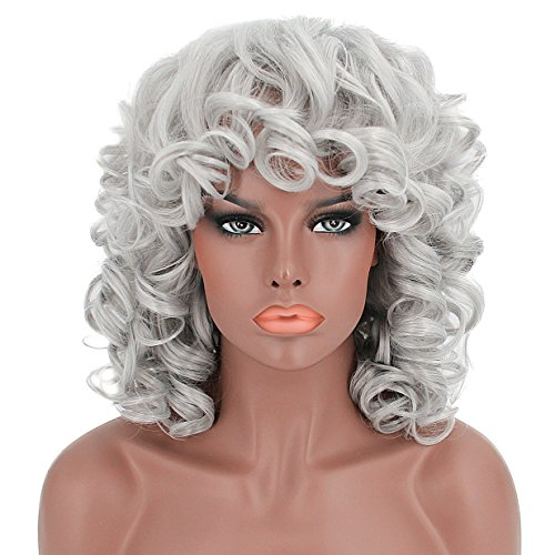 ELIM Short Curly Hair Wigs for Black Women Fluffy Wavy Silver Synthetic Wig Halloween Costume Wig Natural Looking Heat Resistant Wigs with Wig Cap Z014WH ()